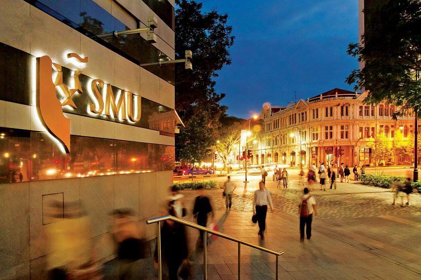 The Singapore Management University (SMU) campus along Victoria Street.