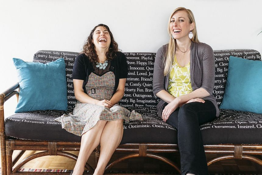 Ms Alicia Ostarello (far left) and Ms Angie Sommer, writers and co-founders of Vow Muse, a writing business focused on custom marriage vows and speeches.