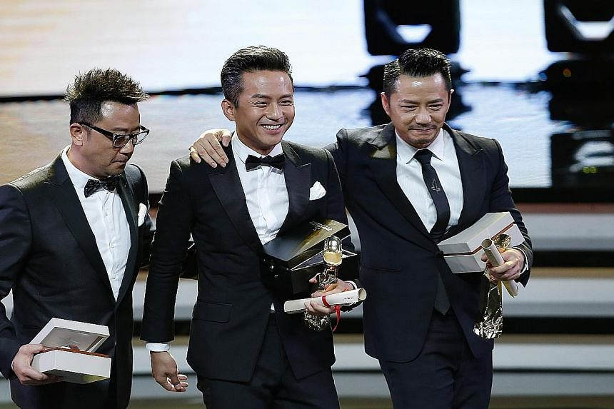(From left) Guo Tao, Deng Chao and Duan Yihong shared the Best Actor award for the crime film The Dead End.