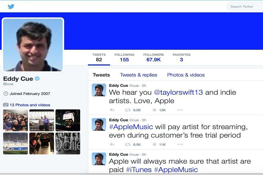 """Singer Taylor Swift (right) called on Apple to abandon its """"no payouts"""" plan in a blog post. (Top) A screengrab of Mr Eddy Cue's tweets on Apple's new decision and (above) Swift's reply."""