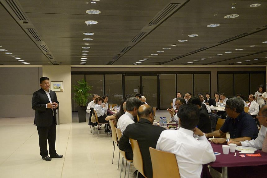 Mr Sunil Sudheesan (standing), acting president of the Association of Criminal Lawyers of Singapore, giving a short address at a lunch held in memory of Mr Subhas Anandan at the Supreme Courton June 23, 2015.