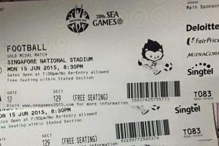 Tickets to the SEA Games football final that were being sold at Doe Myanmar.