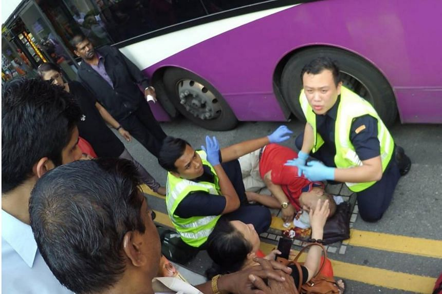 A 56-year-old tourist was hit by an SBS bus outside the Sri Veeramakaliamman Temple along Serangoon Road.