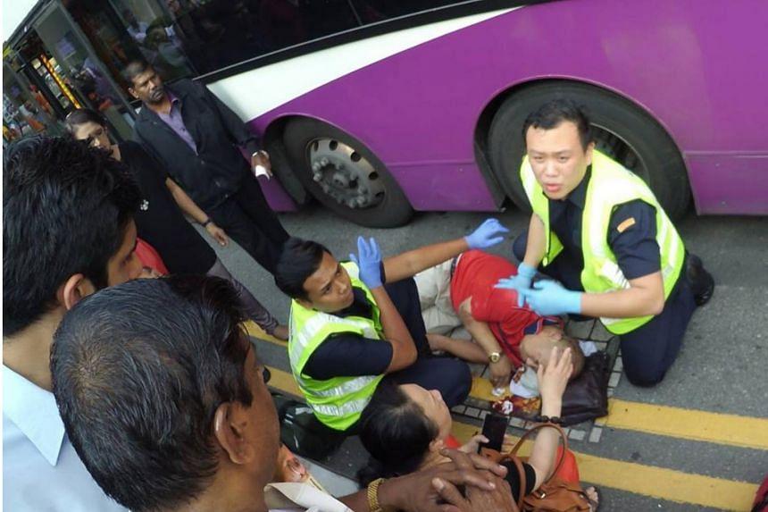 A 56-year-old tourist was hit by an SBS bus outside the Sri Veeramakaliamman Temple along Serangoon Road.