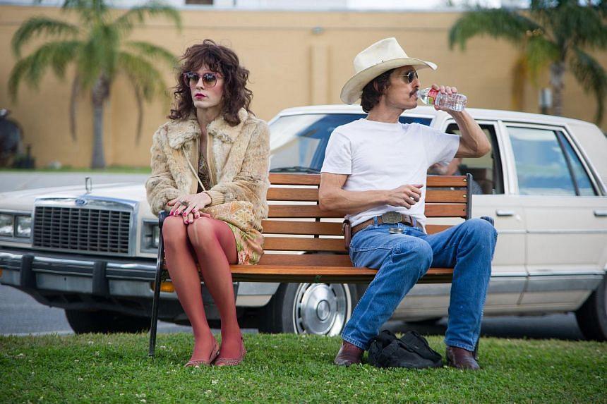 Cinema still from Dallas Buyers Club starring Jared Leto (left) and Matthew McConaughey.