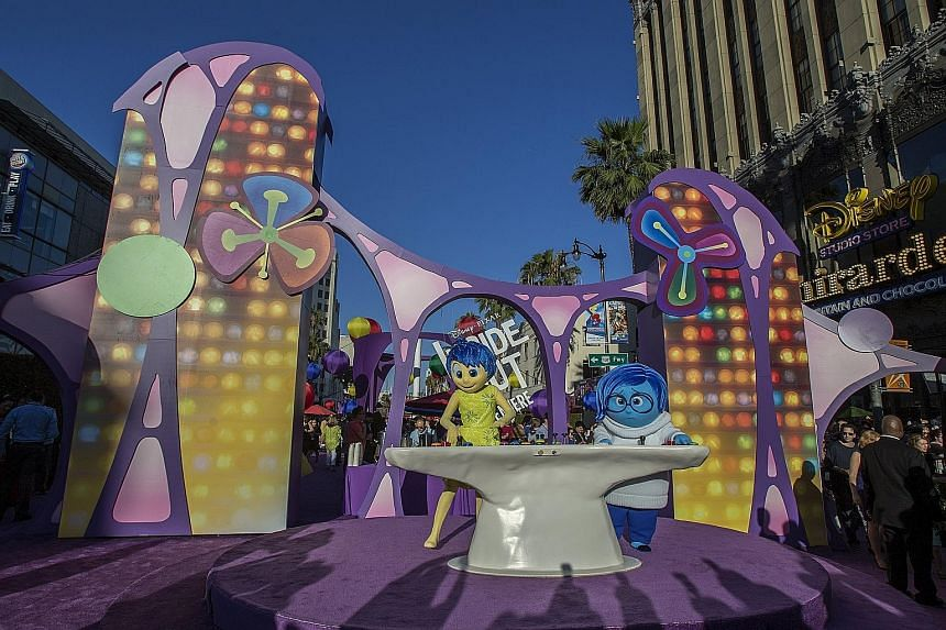 Joy and Sadness, the characters of Inside Out, at its premiere in Hollywood early this month.