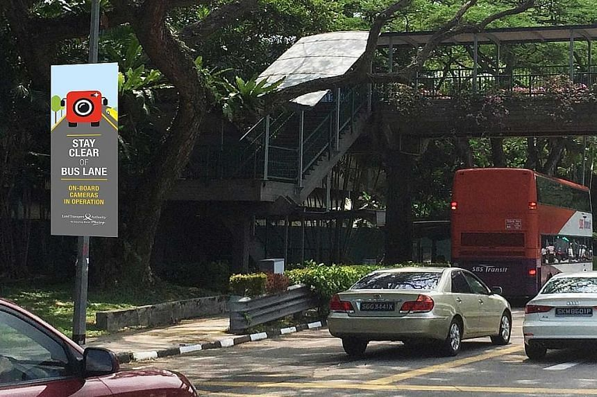 The LTA is putting up new banners like the one above to remind motorists of CCTV cameras on board buses. The cameras mounted in the front of buses (right) record instances of motorists infringing the bus-lane rule.