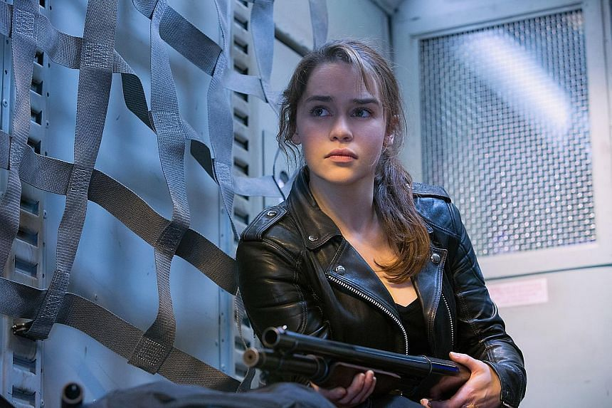 The character of Sarah Connor is back in the form of Emilia Clarke (left) in Terminator Genisys. Arnold Schwarzenegger, who starred in the first two Terminator films, returns as the protector cyborg in the fifth movie, Terminator Genisys.