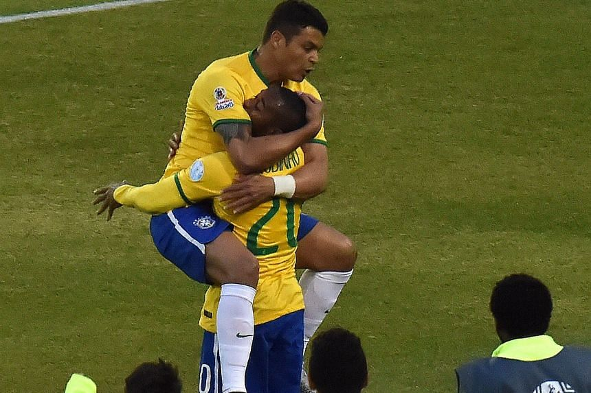 Brazil's Thiago Silva (top) believes their Copa America quarter-final opponents Paraguay will be tough to beat but the Selecao will also have to deal with either Argentina or Colombia to get to the final.