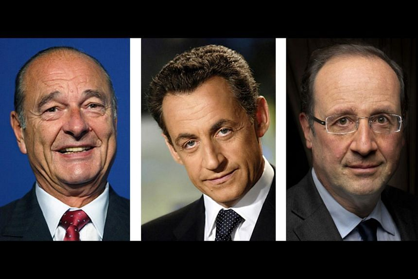 (From left) Former French presidents Jacques Chirac and Nicolas Sarkozy and current President Francois Hollande.