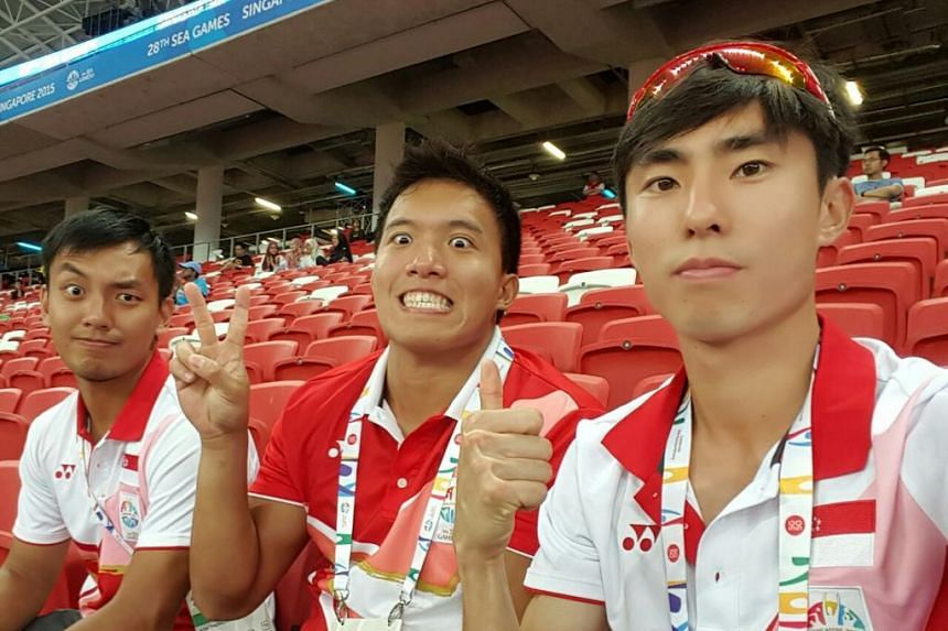 Watching the Games with my teammates.