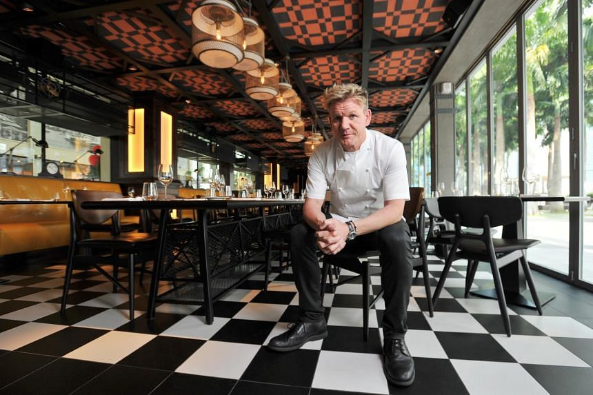 Chef Gordon Ramsay in his new Bread Street Kitchen at Marina Bay Sands, a two-storey, 149-seat restaurant that serves Cool Britannia food.