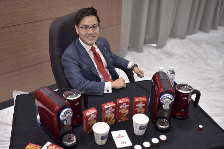 Mr Richmond Te, group assistant general manager of Owl International, with a range of Caffe Cagliari products.