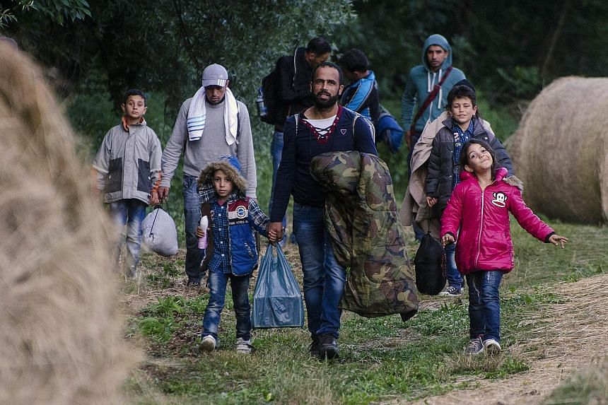 Migrants crossing the green border from Serbia into Hungary on Tuesday. Hungary intends to build a 4m-high fence on the border to keep out migrants, as the EU struggles to deal with a massive influx of asylum-seekers.