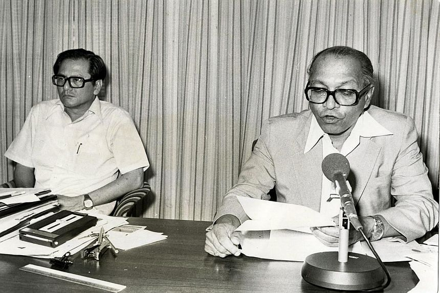 DEC 3, 1979: Phey Yew Kok (far left) and NTUC president Devan Nair at the press conference where the NTUC announced that Phey had resigned as secretary- general of the Pioneer Industries Employees Union and the Singapore Industrial Labour Organisatio