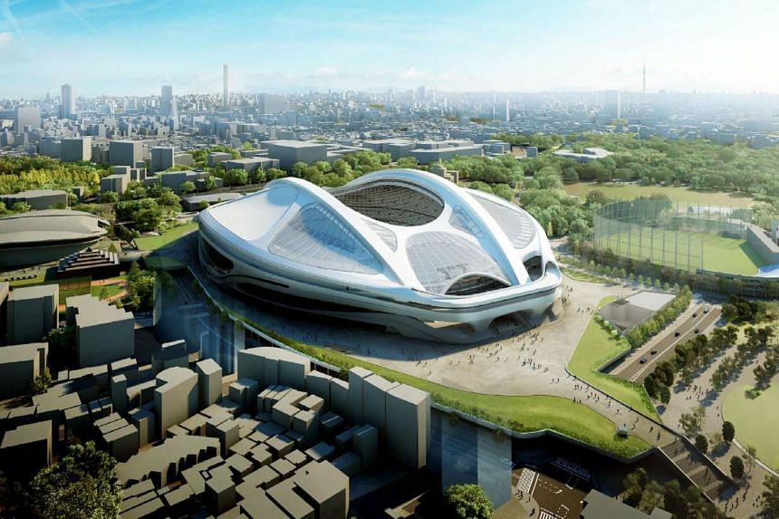 An artist's impression showing the new National Stadium for the 2020 Olympic Games in Tokyo, designed by Iraqi-British architect Zaha Hadid.
