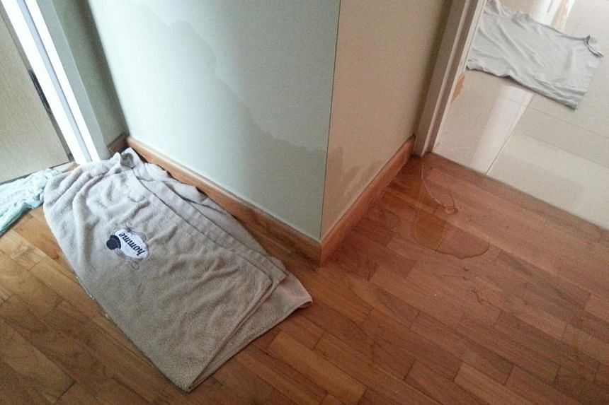 Centrale 8 resident Michelle Lim said water seeped into the wall and flooring of her bedroom after a water pipe in her bathroom burst.