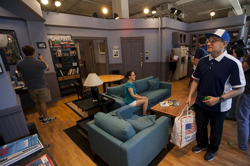 Visitors touring Hulu's Seinfeld: The Apartment, a temporary exhibit in Manhattan.