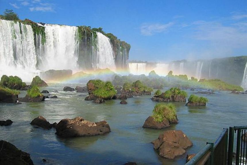 The Iguazu Falls is made up of 275 waterfalls in Brazil and Argentina.