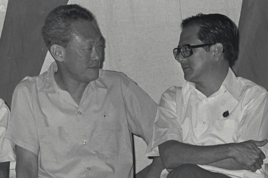 - Then Prime Minister Lee Kuan Yew (far left, with Phey in 1976) at a March 3, 1982 parliamentary session where opposition MP J.B. Jeyaretnam called for the charges against Phey to be withdrawn and a commission of inquiry to investigate the matter in