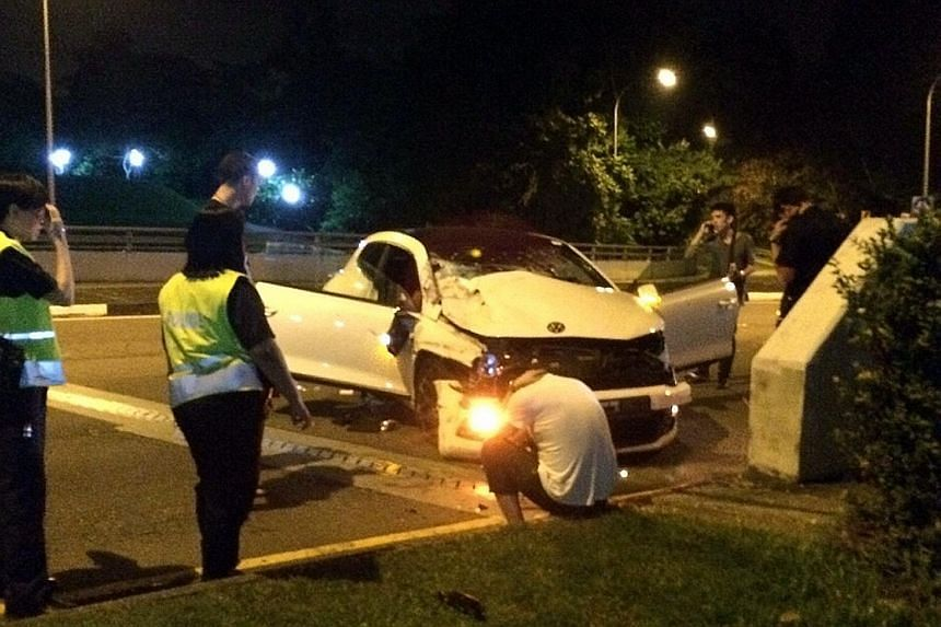 Ong, the driver of this car, was travelling at high speed when he rammed into a lorry, which flipped over and tumbled down a side road. The lorry driver died on the spot.