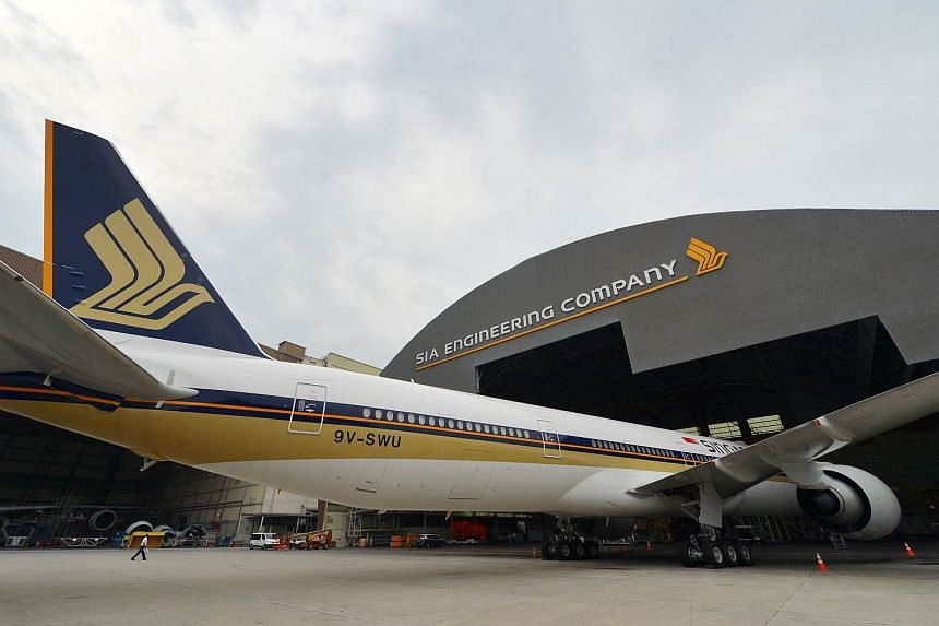 A Singapore Airlines (SIA) Boeing 777-300 parked in the SIA Engineering Company hangar at Changi. SIA Engineering Co has renewed its services contract with SilkAir for S$197 million.