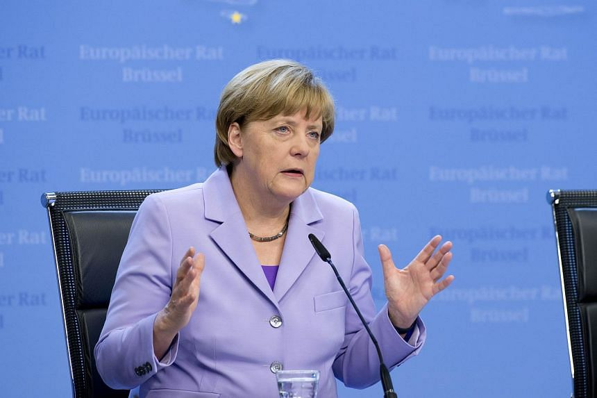 German Chancellor Angela Merkel at a press conference during the European Council on June 25, 2015, in Brussels.