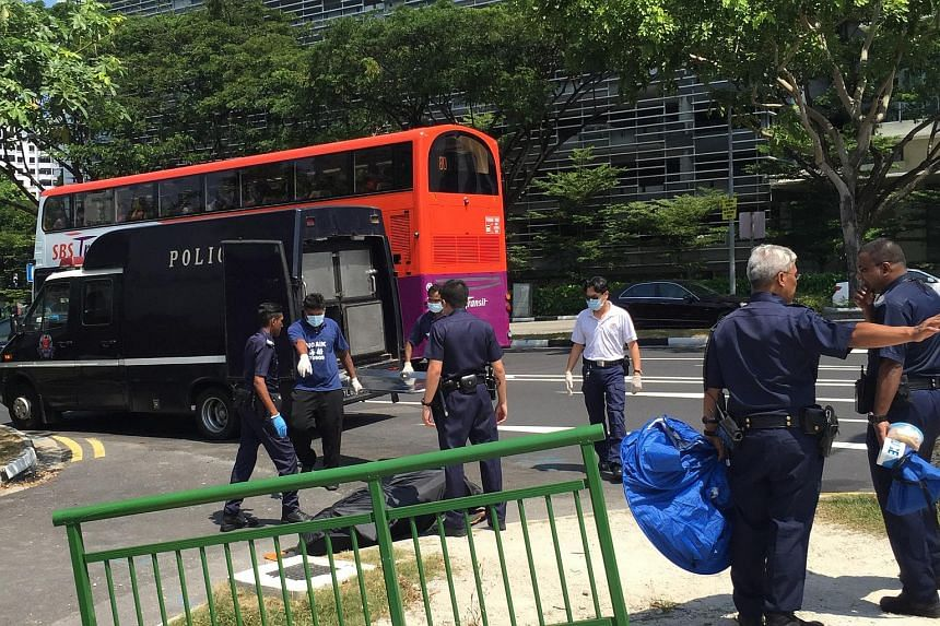 When The Straits Times visited the scene near the Immigration and Checkpoints Authority of Singapore premises at Lavender at about 1pm, police officers were seen carrying the body into a police van parked on Crawford Street.