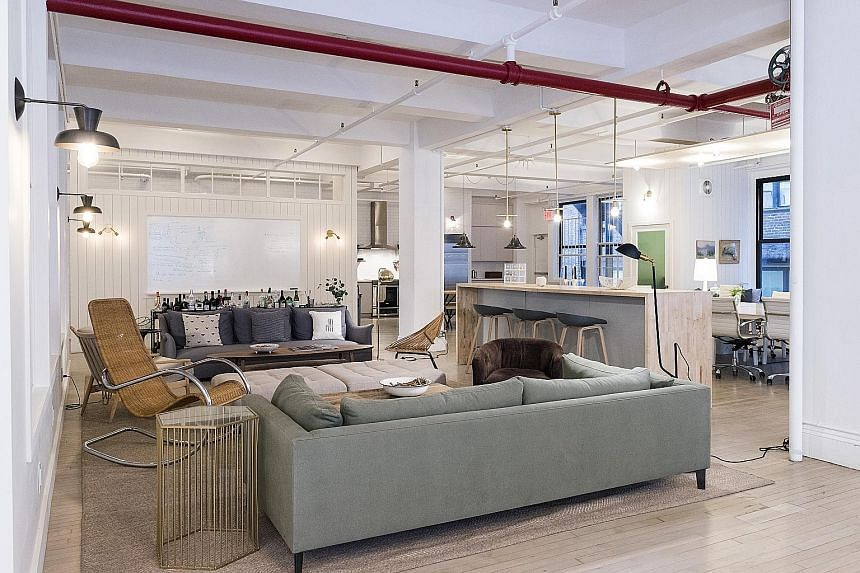 Designed by Mr Brad Sherman (above right), online cooking community and e-commerce site Food52's office has a lounge (above) and a photo-worthy test kitchen.