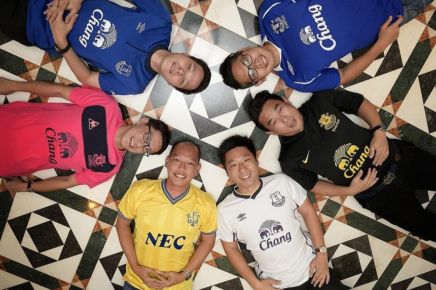 Members of the Singapore Everton Supporters' Club - (clockwise from top right) Daniel Tan, Miki Khoo, Keng Wei Terk, Tommy Low, Eugene Beh and Ronnie Lim - hope to draw fans from other countries to the activities they have arranged to tie in with the