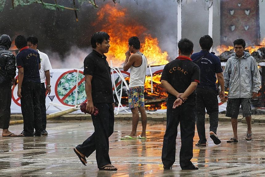 The authorities in Myanmar said drugs worth about US$245 million (S$329 million) were torched or crushed with a steamroller. This is the 28th time this event has been held in Myanmar since the United Nations General Assembly endorsed June 26 as the I