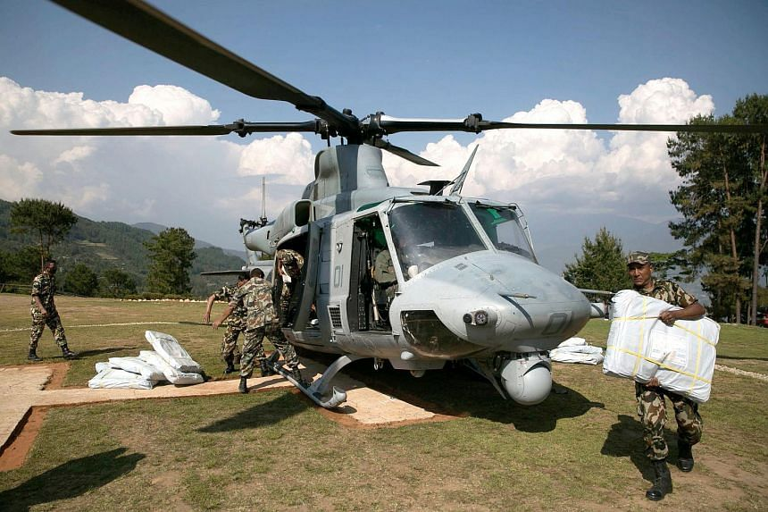 A US Marine Corps helicopter carrying out earthquake relief in Nepal was reported missing on May 12, 2015 with eight personnel on board, officials said.