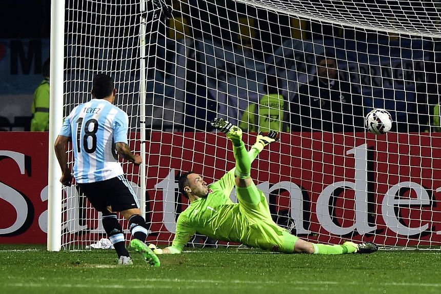 David Ospina kept Colombia in the game with superb saves, tipping over this header from Lionel Messi after first keeping out Sergio Aguero's effort. Carlos Tevez was not among the five designated penalty takers because of his miss in the 2011 Copa. B
