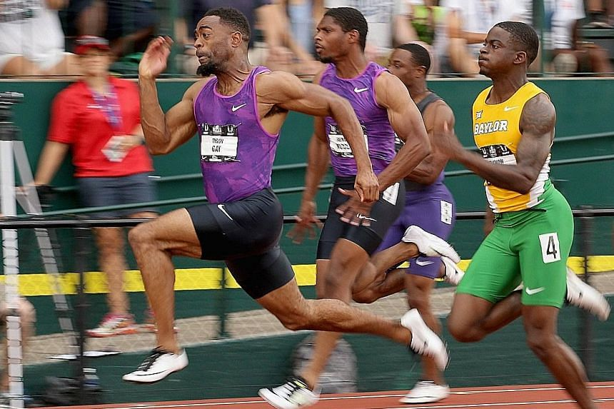 Tyson Gay is up for the challenge from Trayvon Bromell (right), with his victory in the 100m setting him up for a mouthwatering showdown with Usain Bolt in the World Championships. Bromell also qualified for the Beijing meet.