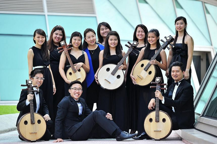Among the members of the Singapore Ruan Ensemble who will feature at next week's concert are (front, from left) Mr Sulwyn Lok, Mr Leong Hwee Yang, Mr Jonathan Ngeow, (back, from left) Ms Peh Kai Wen, Ms Koh Min Hui, Ms Lo Chai Xia, Ms Zhang Ronghui,