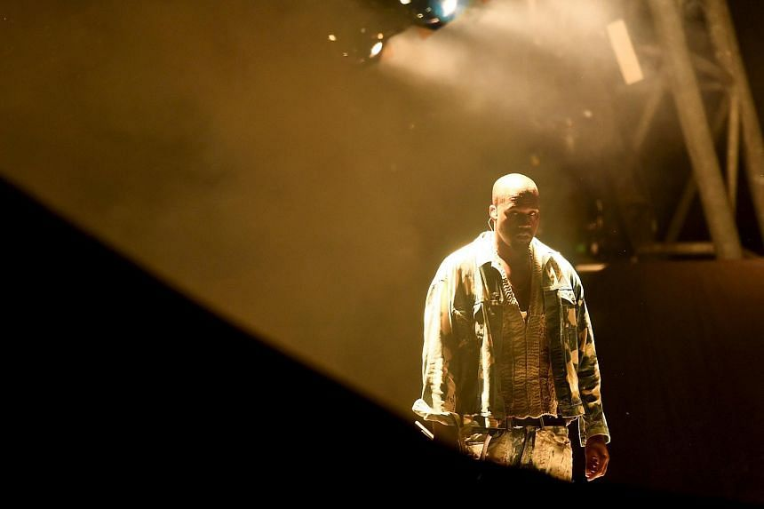 Kanye West performs on the Pyramid stage at Worthy Farm in Somerset during the Glastonbury Festival in Britain, on June 27, 2015.