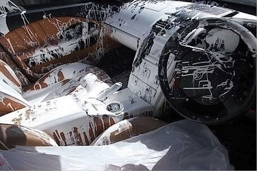 The driver had swerved to avoid hitting a dog, causing the lid on the tin of paint inside the car to dislodge and splash its contents all over the car's interior.