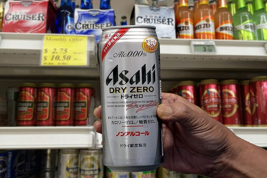One brand of non-alcoholic beer sold here is Asahi Dry Zero, which has packaging similar to regular beers sold by the Japanese brand, but contains no alcohol. Some retailers are hoping such beers will help mitigate the loss in takings after the ban i