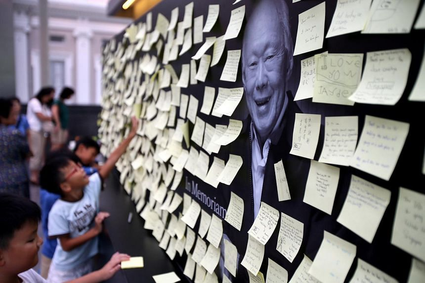Condolence cards for the late Mr Lee Kuan Yew on display at National Museum.