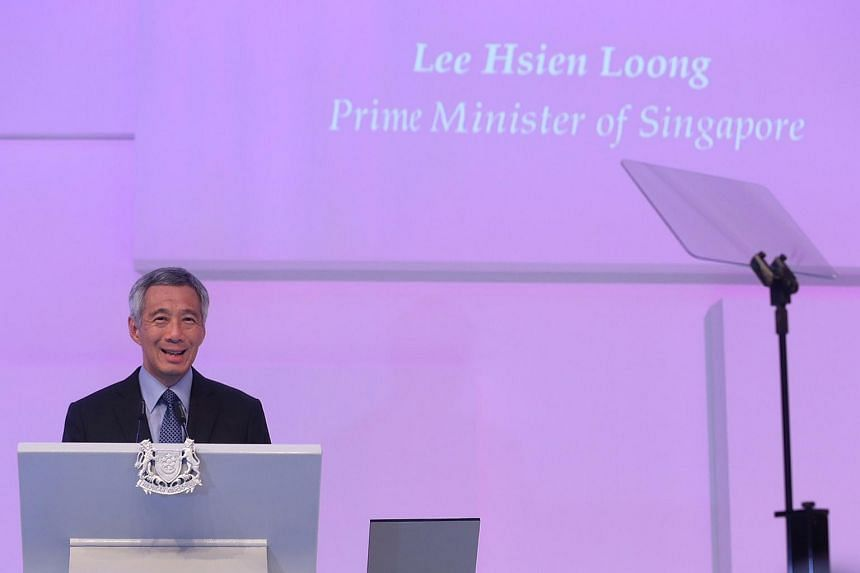 Prime Minister Lee Hsien Loong giving the keynote address.