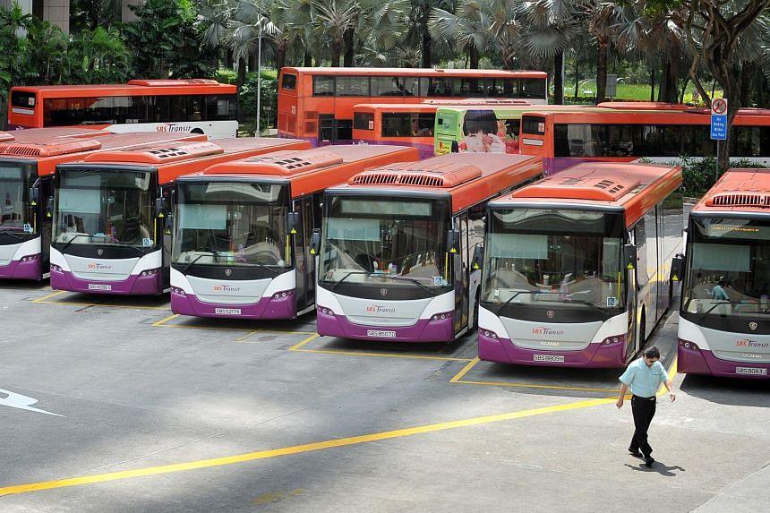 SBS Transit buses.