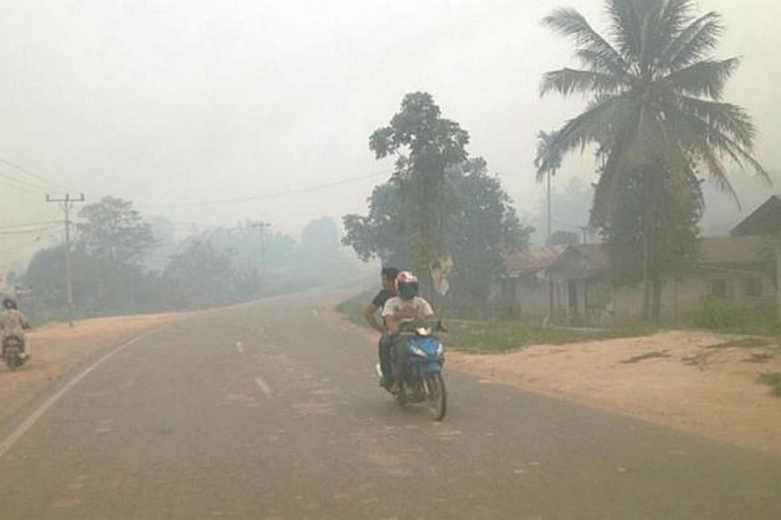 A motorcyclist and his rider braving the haze in Dumai in Indonesia's Riau province.