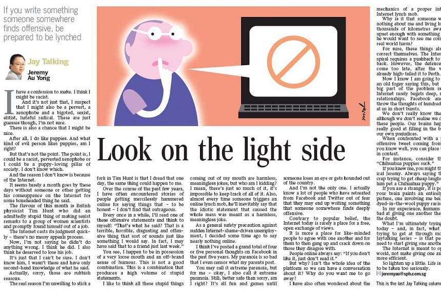 Straits Times' US bureau chief Jeremy Au Yong's Jay Talking column.