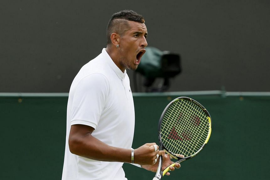 Nick Kyrgios of Australia reacts during his match against Diego Schwartzman of Argentina at the Wimbledon Tennis Championships in London on Monday.