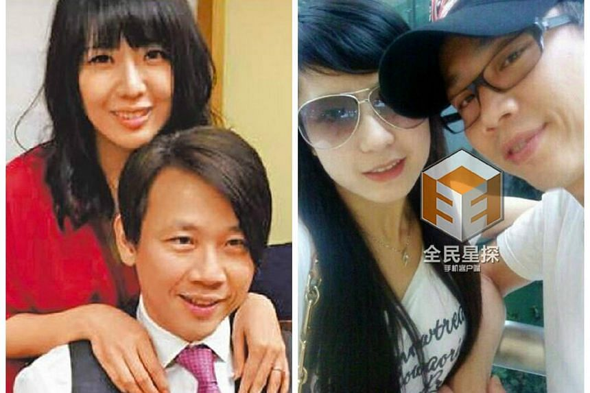 (Left picture) Taiwanese singer David Tao with his wife Penny Chiang. (Right picture) David Tao with his artist manager Yang Ziqing.