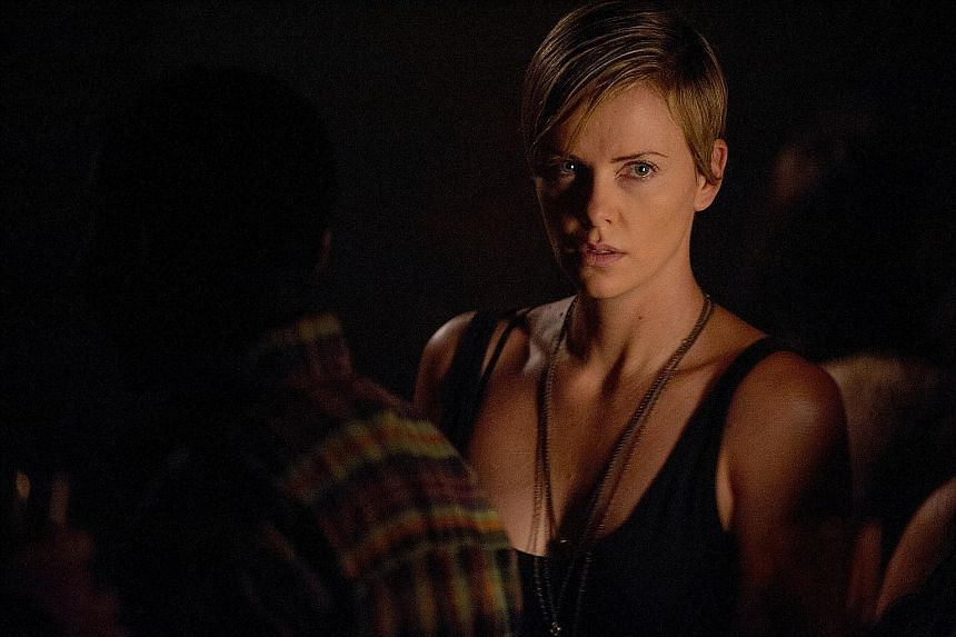 Charlize Theron plays Libby (left), whose mother and sisters were killed when she was eight, with a sense of pain and vulnerability.
