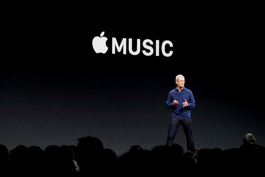 Apple CEO Tim Cook introducing Apple Music on June 8, 2015.