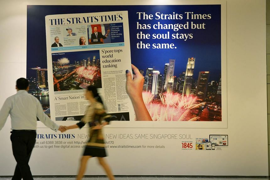 A billboard at the Marina Bay Link Mall announcing the new-look ST.