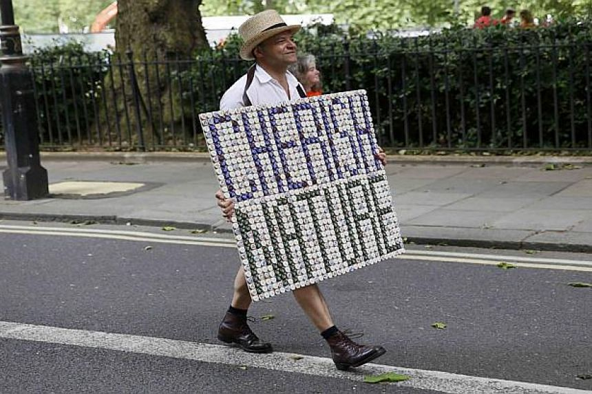 A climate change campaigner in central London.