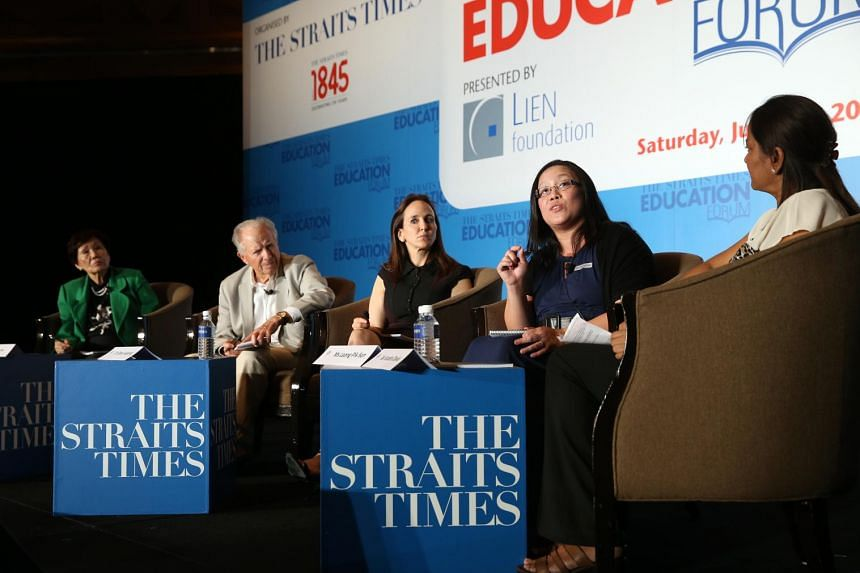 Ms Leong Pik San (second from right), senior specialist at the Ministry of Education's pre-school education branch, speaking at The Straits Times Education Forum on June 27, 2015. ST PHOTO: SEAH KWANG PENG